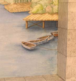 detail of mural with trompe l'oeil